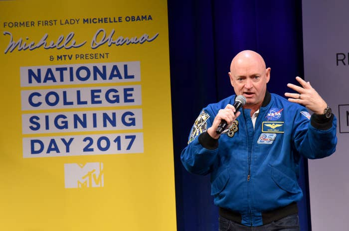 Mark Kelly onstage during MTV's 2017 College Signing Day With Michelle Obama at the Public Theater on May 5, 2017, in New York City.