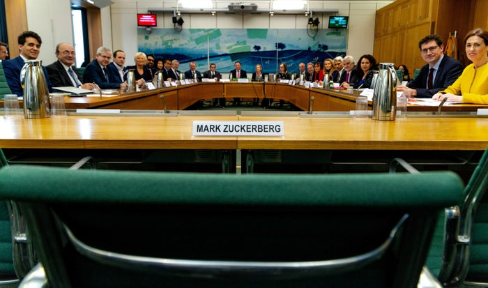 An empty chair left for Mark Zuckerberg in the House of Commons.