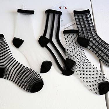 2749e6cc5a49b Patterned mesh socks to add a geometric *edge* to all of the outfits you  have planned. Amazon