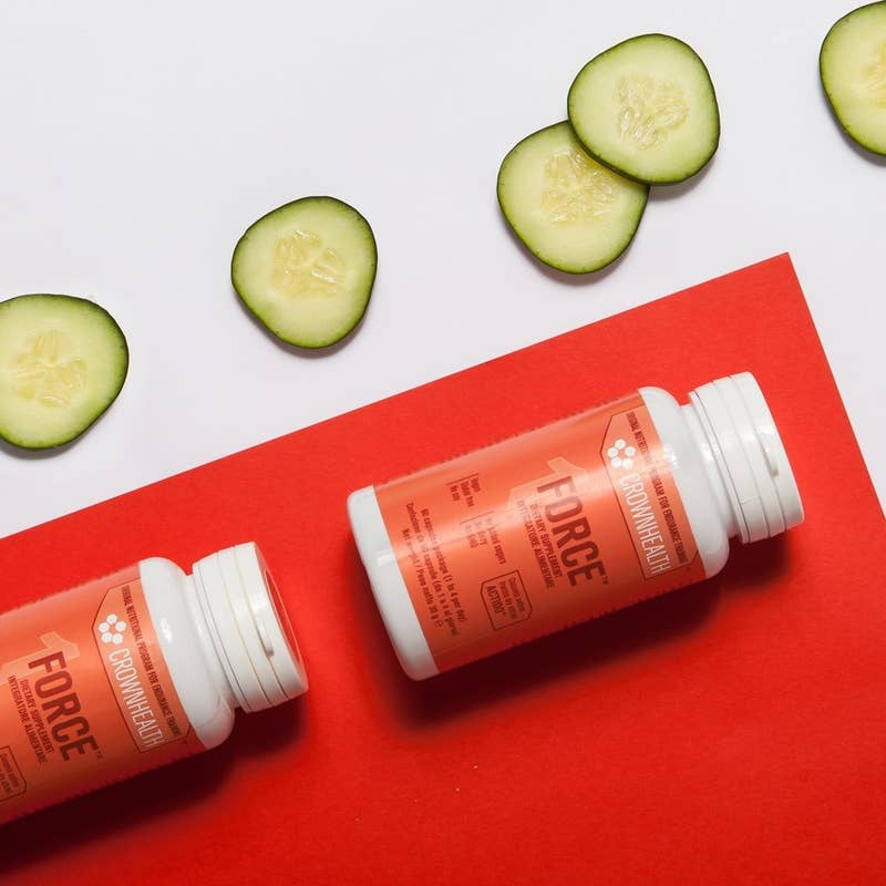 packs of force anti-inflammatory vegan probiotic with cucumber pieces