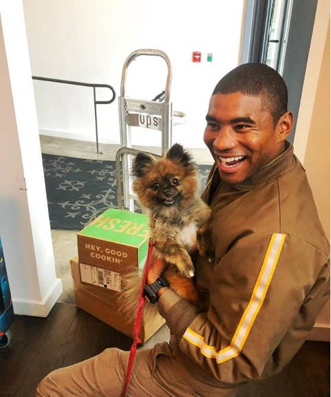 This UPS Driver Takes The Most Joyful Photos With The Dogs On His Route