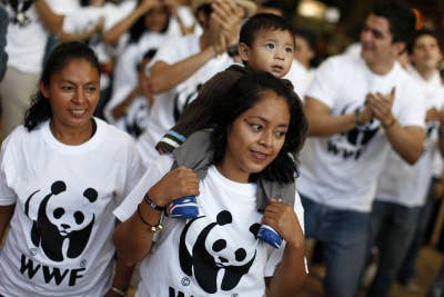 World Wildlife Fund activists demonstrate on the sidelines of the UN Climate Change conference.