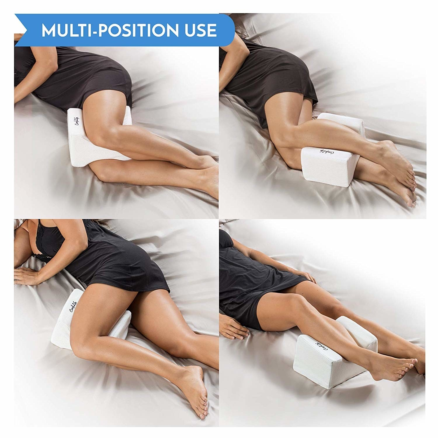 A reviewer showing the different ways to sleep with this: between thighs or calves, under one thigh, or under one calf
