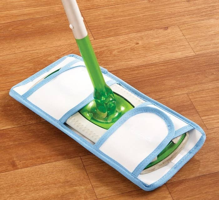 """This comes with two pads so you can use one for dusting and one for mopping (just spray or dip the pad in your favorite cleaning solution for you floors). Reviewers suggest air drying after washing.Promising review: """"If you use the Swiffer Mop you know how expensive the wet cleaning pads can be. This pad is perfect for cleaning without the expense. It fits perfectly, does the job, saves money, is handy to use, and cleans well."""" —VickyPrice: $6.86 for two"""