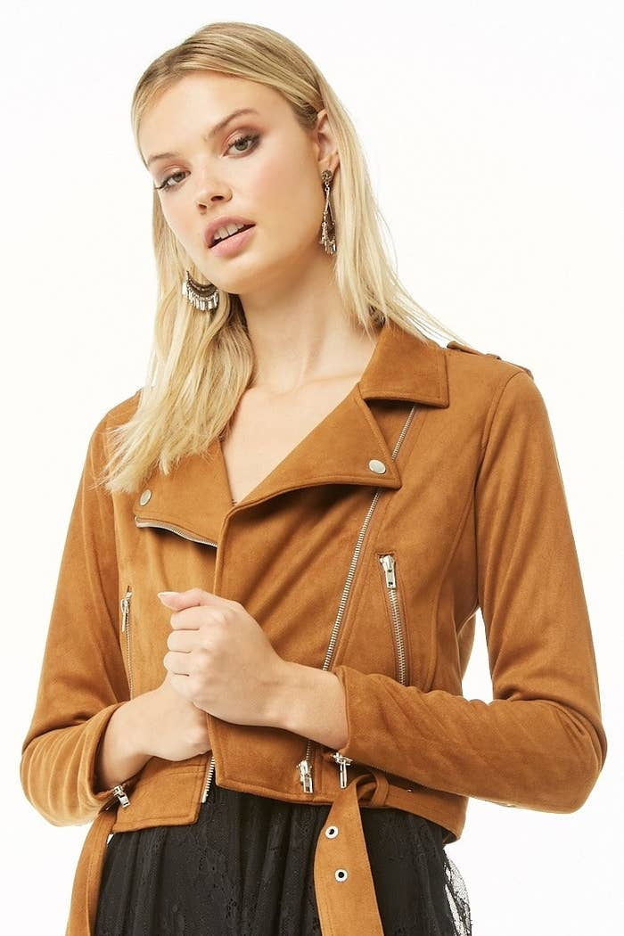 e027467105b A faux suede moto jacket to throw on when you go out and the weather s not  quite warm enough for just a top.