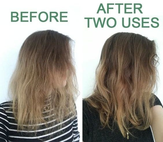 BuzzFeed Shopping reviewer's before and after with frizzy hair and then defined waves