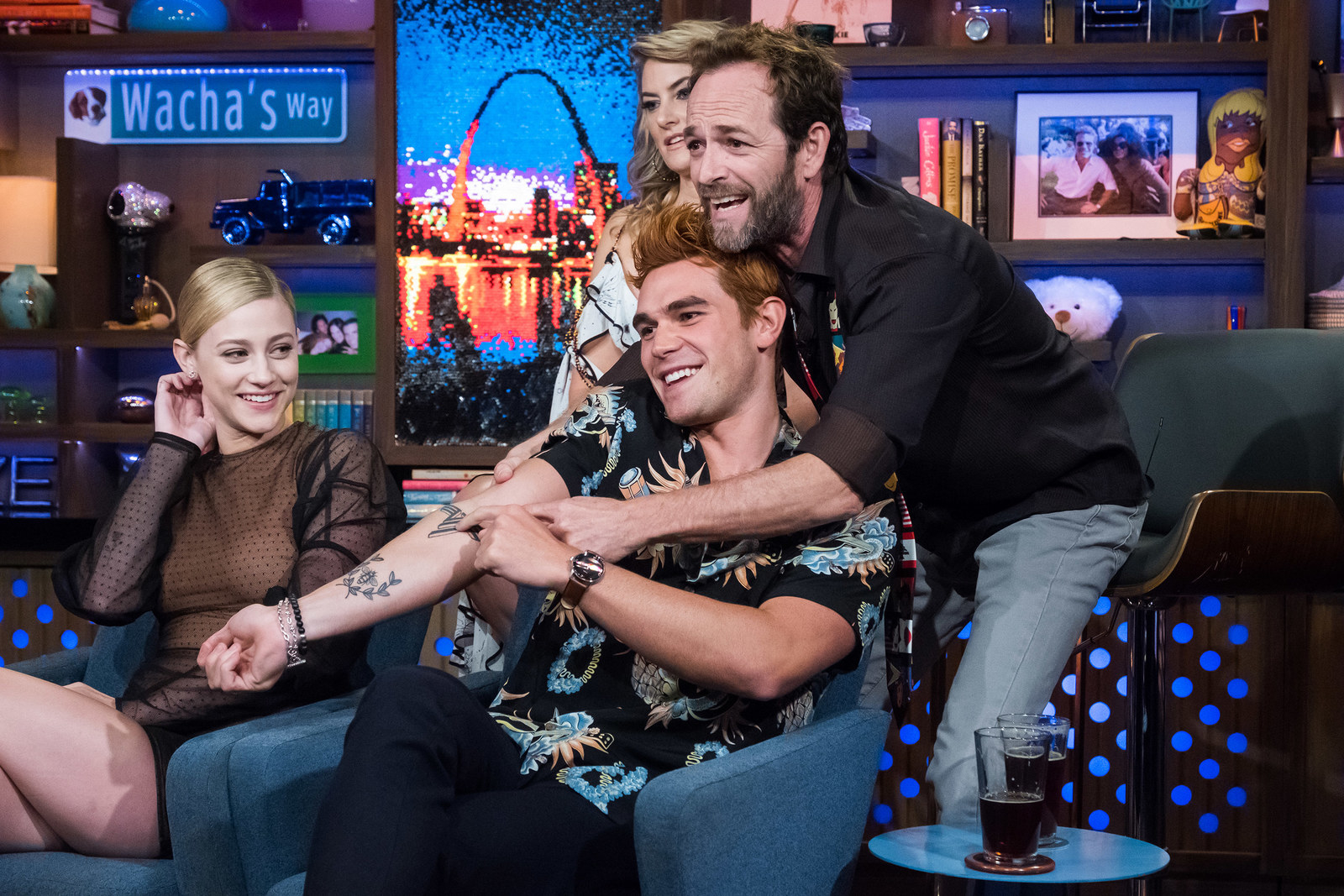 WATCH WHAT HAPPENS LIVE WITH ANDY COHEN -- Pictured (l-r): Lili Reinhart, KJ Apa, Madchen Amick and Luke Perry -- (Photo by: Charles Sykes/Bravo/NBCU Photo Bank via Getty Images)