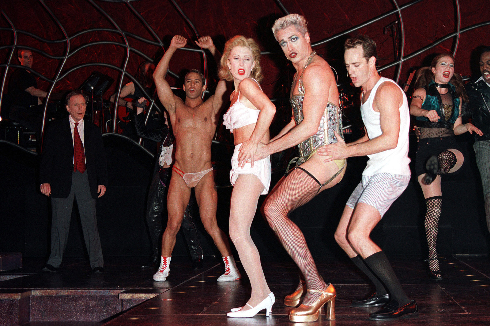 Luke Perry, far right, performs in  The Rocky Horror Show  on June 26, 2001 in New York City.