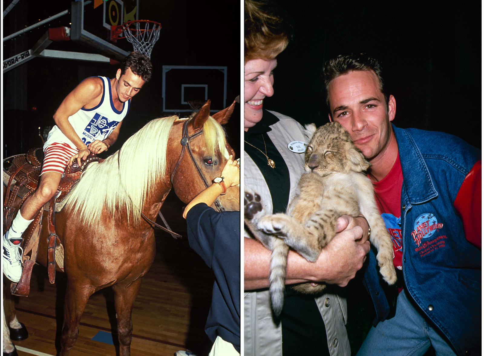 Luke Perry riding a horse at the 1991 MTV Rock 'n Jock Basketball game in Los Angeles. Right: Luke Perry at a charity event sponsored by Planet Hollywood in 1990.