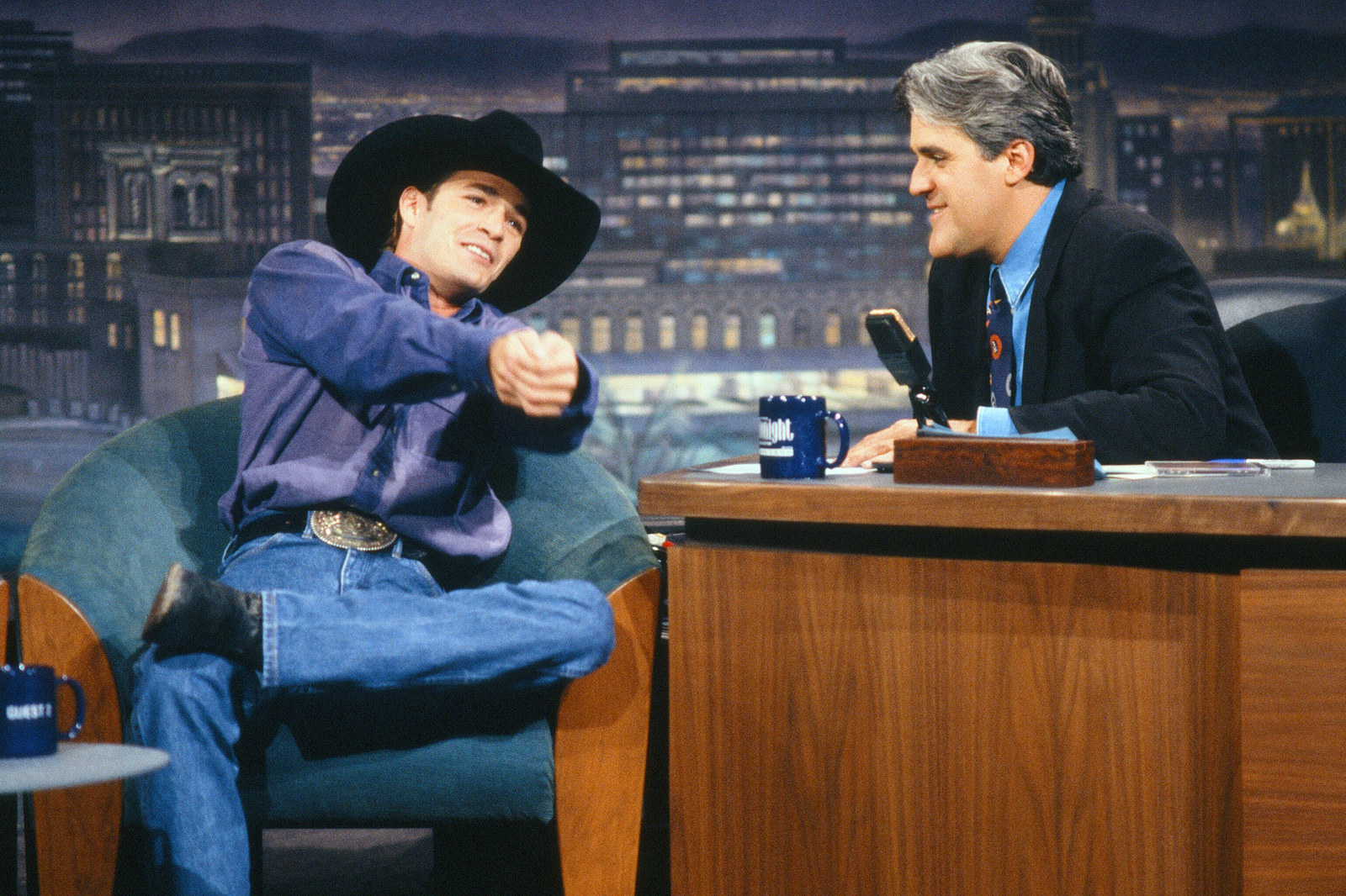 Luke Perry during an interview with host Jay Leno on Aug. 30, 1993.
