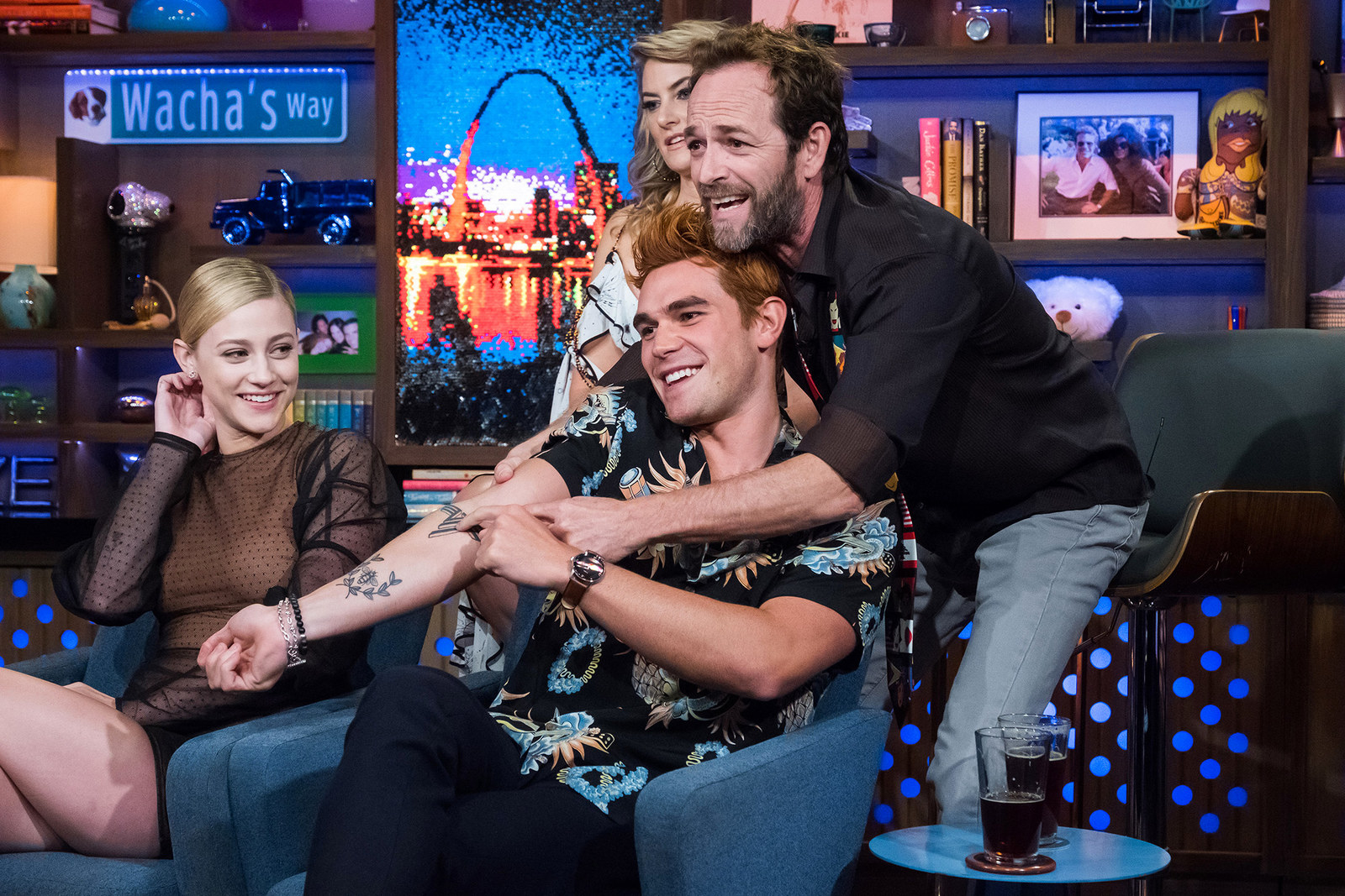 From left to right, Riverdale actors Lili Reinhart, KJ Apa, Madchen Amick, and Luke Perry appear on  Watch What Happens Live with Andy Cohen , on Oct. 9, 2018.