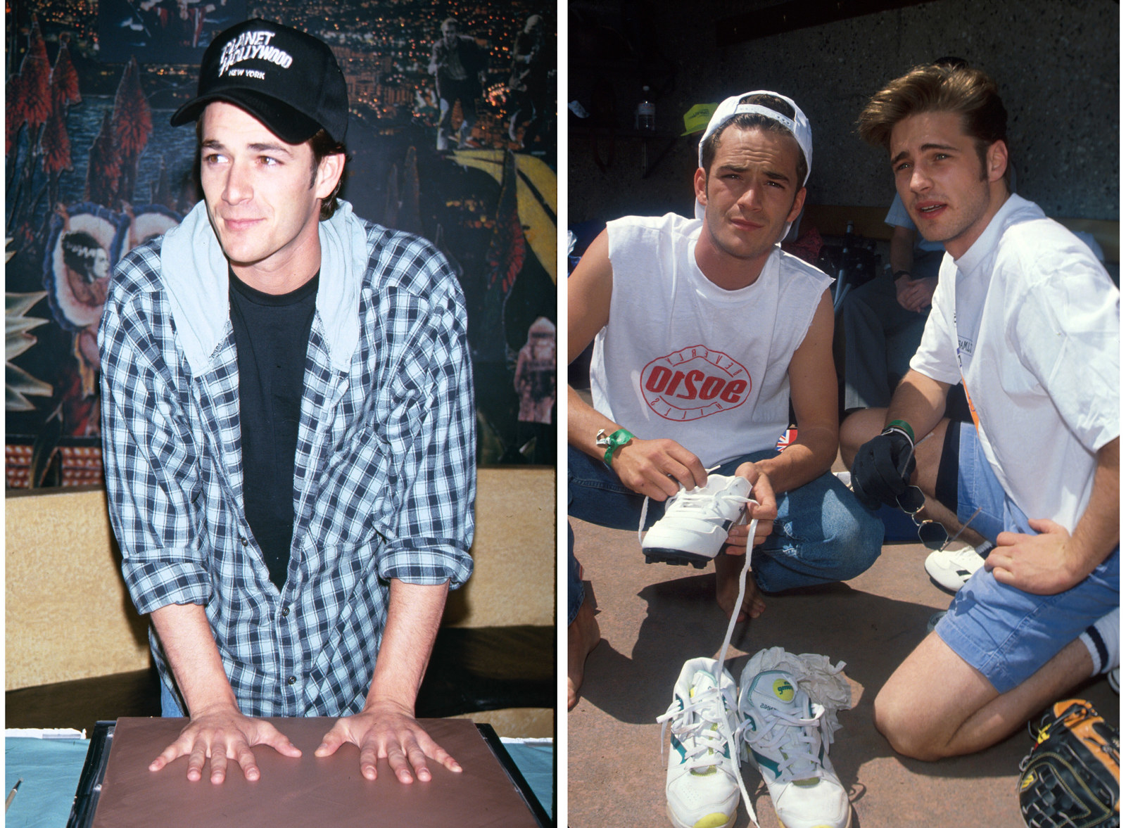 Left: Luke Perry creates an imprint of his hands during a charity event in 1990. Right: Luke Perry and Jason Priestley attend a charity baseball event in 1991.