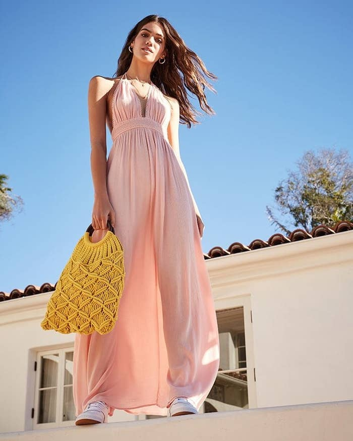 57063a43f59c A flowy halter maxi dress so you'll feel right at home on the beaches of  St. Barts. Forever 21