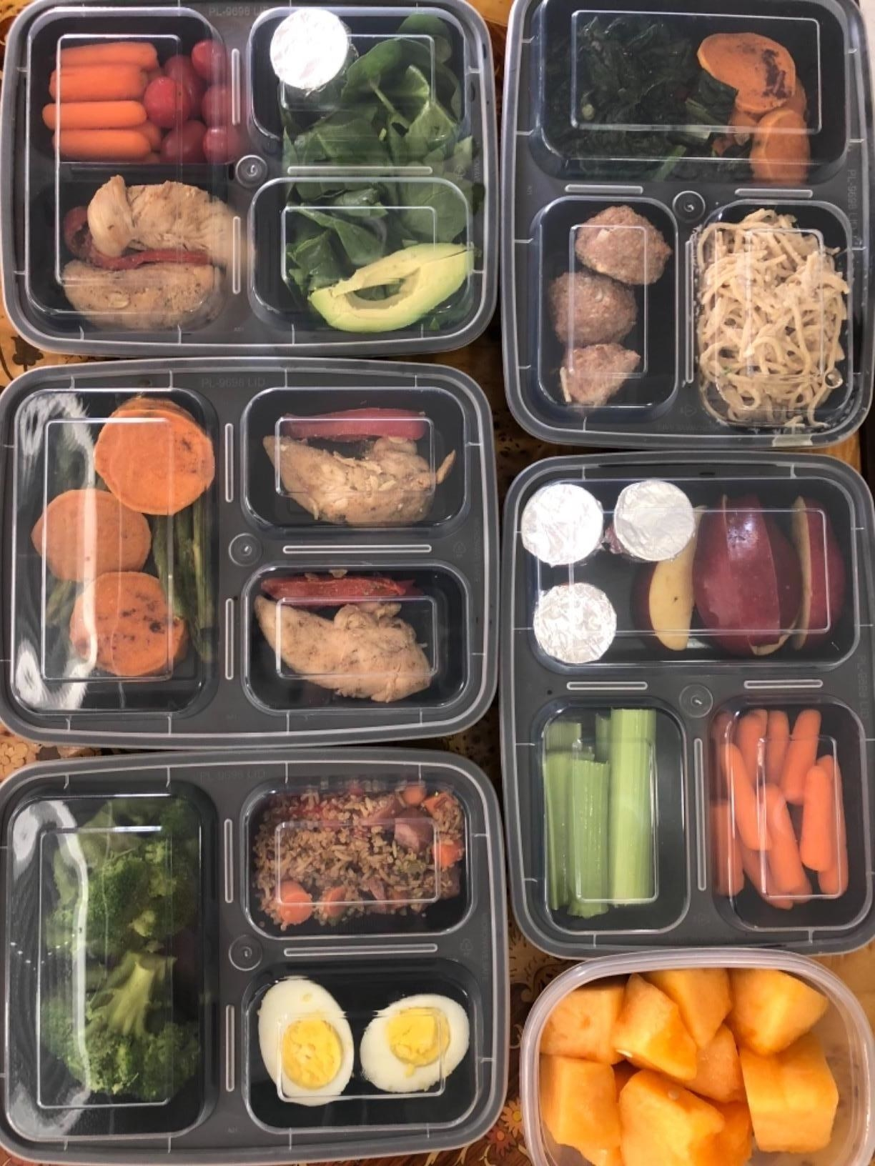 """These containers have three compartments to help you perfectly portion out your food. They are reusable, microwavable, and dishwasher-safe. Plus, they're BPA-free. """"I use meal prep containers that fit in my lunchbox. Sunday night, I can make an entire week's worth of lunches for work. Then in the mornings I can just grab and go and avoid that hectic 'Crap! I need food for lunch!' scramble."""" —gingersnaps1092Get a pack of 20 takeout containers and lids from Amazon for $19.99."""