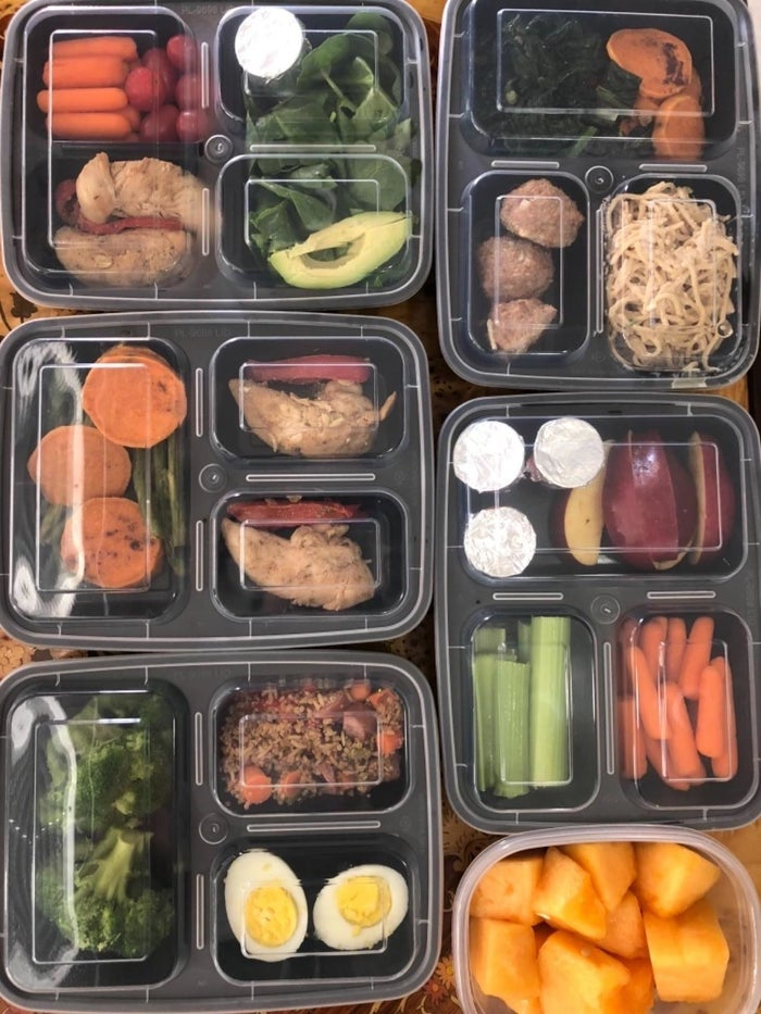 "These containers have three compartments to help you perfectly portion out your food. They are reusable, microwavable, and dishwasher-safe. Plus, they're BPA-free. ""I use meal prep containers that fit in my lunchbox. Sunday night, I can make an entire week's worth of lunches for work. Then in the mornings I can just grab and go and avoid that hectic 'Crap! I need food for lunch!' scramble."" —gingersnaps1092Get a pack of 20 takeout containers and lids from Amazon for $19.99."