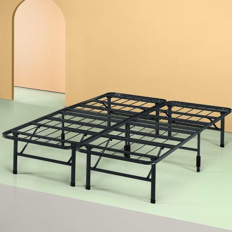 The black bedframe