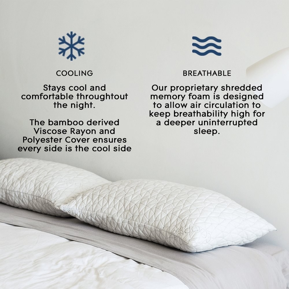 An image of the two pillows detailing the features like the bamboo rayon and shredded foam to keep the pillows cool