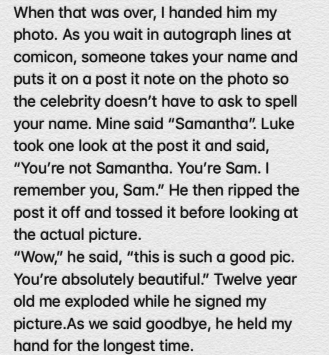 And this excerpt from a  note  that perfectly summarizes Luke's total kindness to his fans