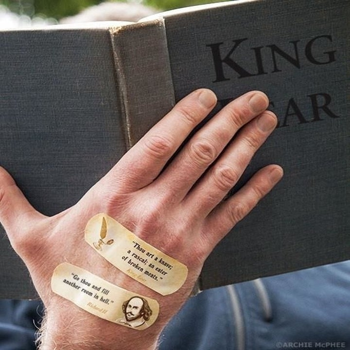 band-aids that say go though and fill another room in hell and thou art a knave, a rascal, an eater of broken meats