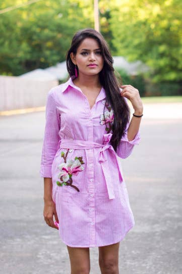 22be7062600005 25. A sharp shirtdress with floral embroidery that's oh sew cute.