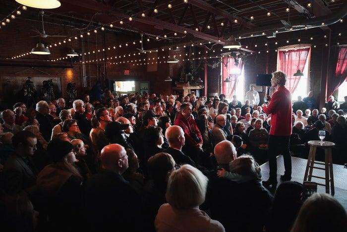 Sen. Elizabeth Warren speaks at a campaign rally March 1 in Dubuque, Iowa.