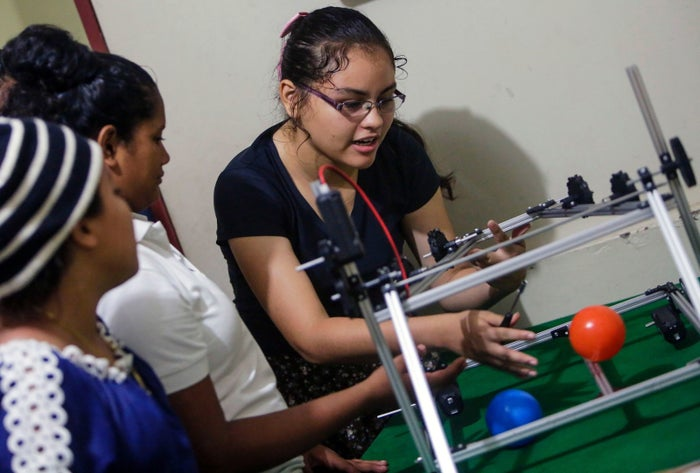 Students from Nicaragua prepare to take part in a robotics competition in Washington, DC.