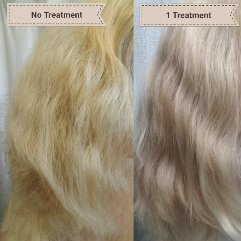 Reviewer before and after one treatment with less yellowy tones and frizz