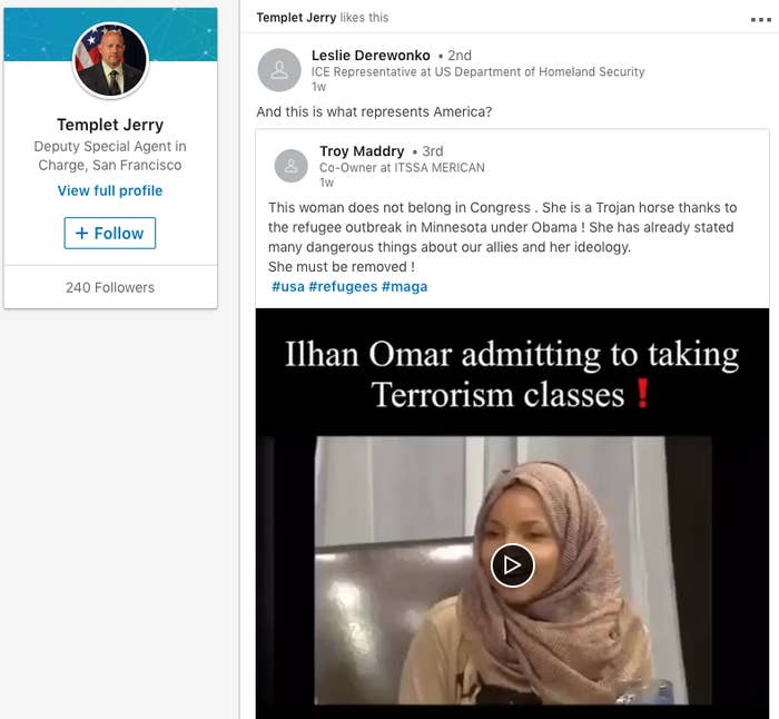 """ICE Officials Shared And """"Liked"""" Ilhan Omar And Anti-Immigrant on ice staff, ice homeland security program, ice restaurant,"""