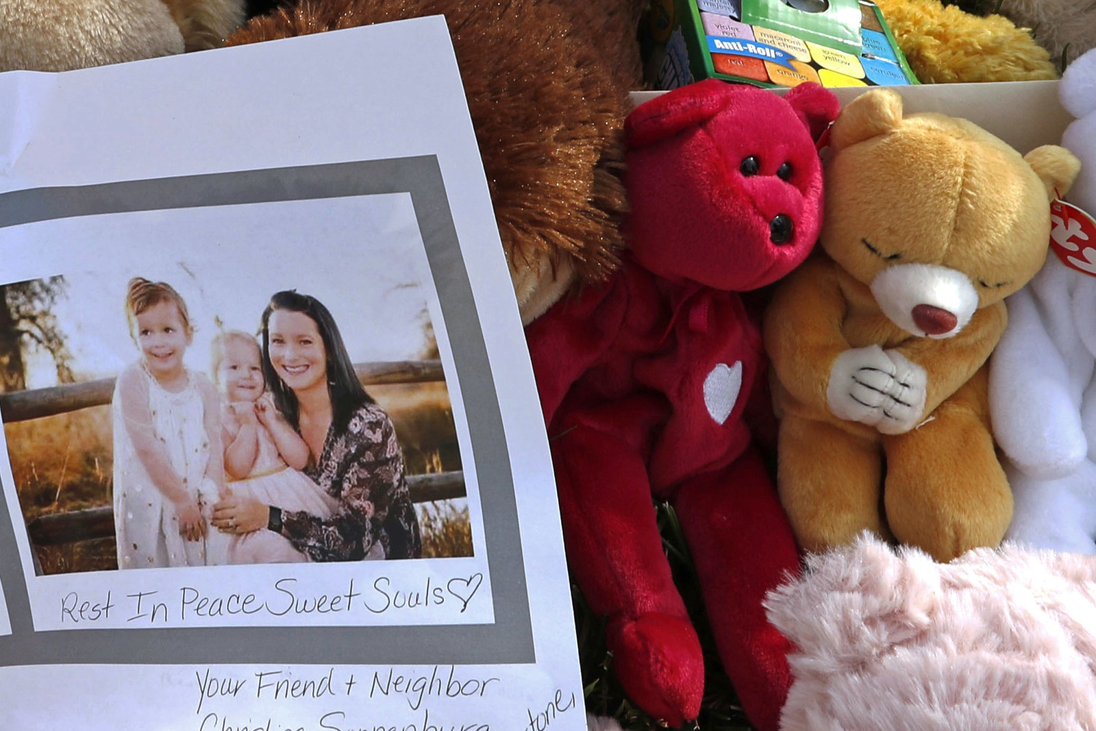 A makeshift memorial for Shanann Watts and her daughters, Bella and Celeste.