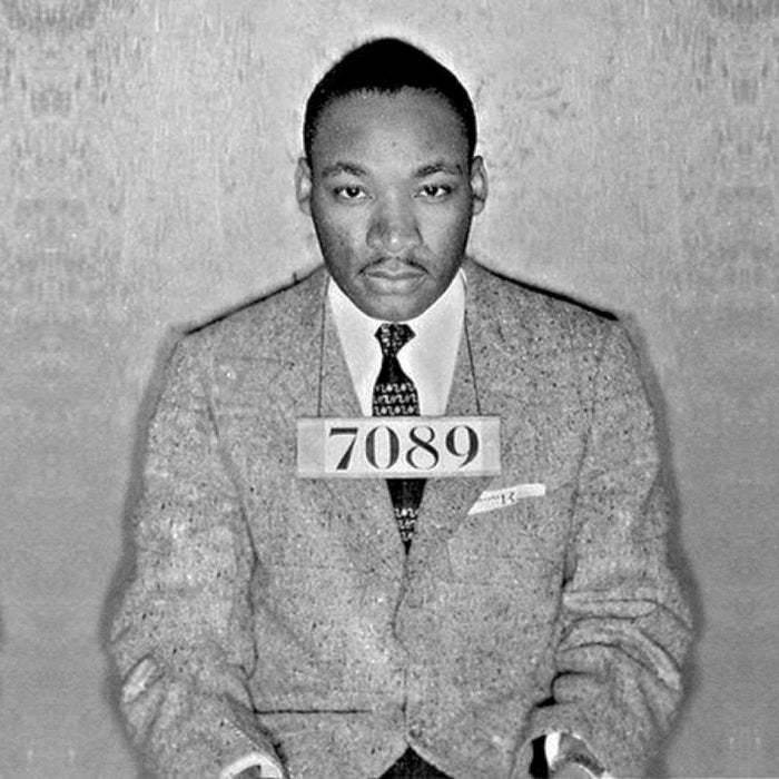 """This is easily the most historically significant arrest on the list and one of the most iconic mugshot images in U.S. history. King was arrested in 1956 in Montgomery, Alabama while taking part in the famous Rosa Parks inspired bus boycotts protesting bus segregation. Later while jailed for another march in Alabama, he wrote the famous """"Letter From Birmingham Jail."""" The eloquent call for """"constructive, nonviolent tension"""" became a defining document for the civil rights movement. The letter was smuggled out of jail and printed by many major publications and inspired millions of Americans. King won the Nobel Peace Prize in 1964 for combatting racial inequality through nonviolent resistance. At the age of thirty-five, he was the youngest man ever to receive the prize."""