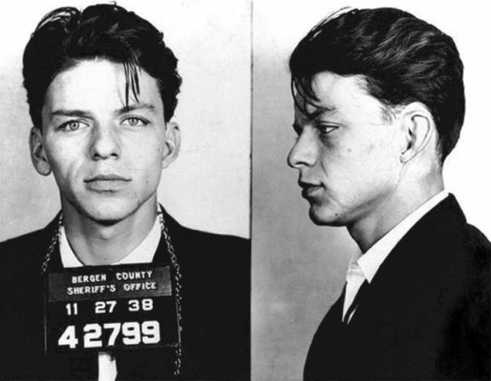 """Long before Ol' Blue Eyes became the iconic international entertainer, Francis Albert Sinatra was arrested in Hoboken, New Jersey in 1938. According to FBI reports, """"under the promise of marriage"""" Sinatra """"did then and there have sexual intercourse with the said complainant, who was then and there a single female of good repute."""" Yes, in 1938 you could be charged with seducing a woman. He was released on $1,500 bail, then arrested one month later for the modified charge of adultery. Turned out the woman in question was married."""