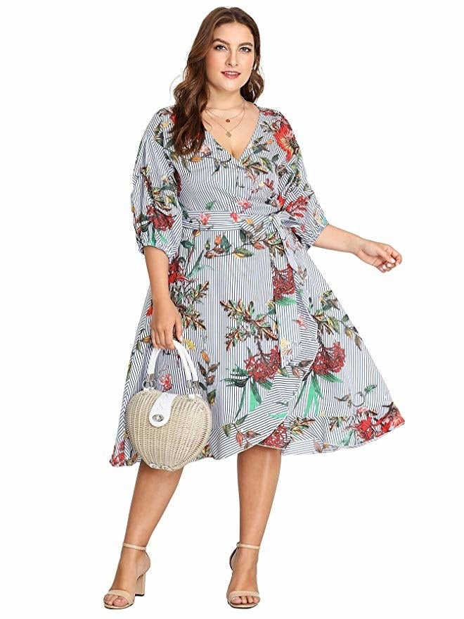 """Promising review: """"I totally loved this. I received soooo many compliments. I was skeptical, but this dress was so easy to put on and comfortable. I wore it to a cabana night themed party and knocked out out the park. The material was very breathable. I love this dress."""" —Sandra LeVonsGet it from Amazon for $35.99 (available in sizes 0X-3X and in four colors and patterns)."""