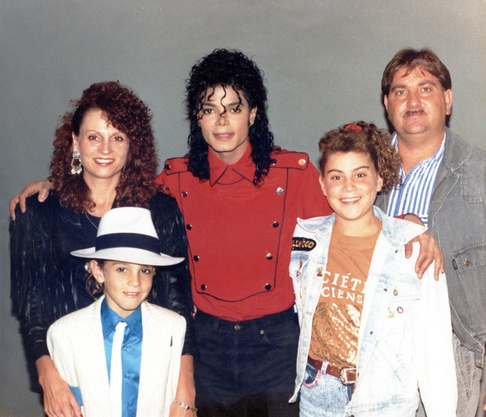 Michael Jackson with Wade Robson (front left) and family. The image is featured in the documentary Leaving Neverland on HBO.