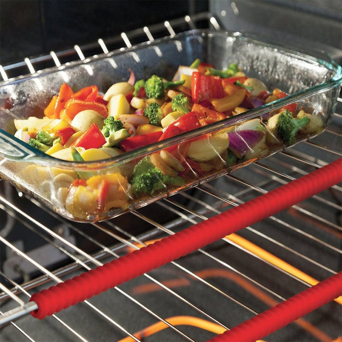 """These work with gas, electric, and larger toaster ovens. They're heat-resistant up to 400°F and dishwasher-safe.Promising review: """"These are a must have for every oven!! I am a part-time at-home baker, and it wasn't until two professional chefs saw my forearms (the little burns from the racks) and said, 'Oh, you must bake!' that I realized how common these burns are from the racks. I was fortunate enough to receive these guards as a gift from my mother-in-law. These are great even if you are just a regular cook — they will save you or your children from the pain of a burn and a potentially bigger mess from a dropped pan or dish."""" —Sand6244Price: two-pack for $9.72"""