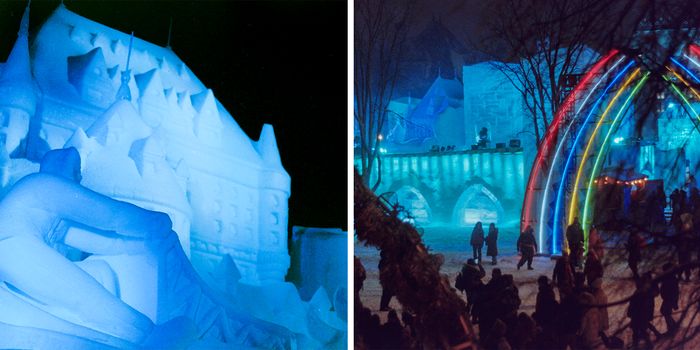 Pictured: larger-than-life structures made entirely of ice and snow.