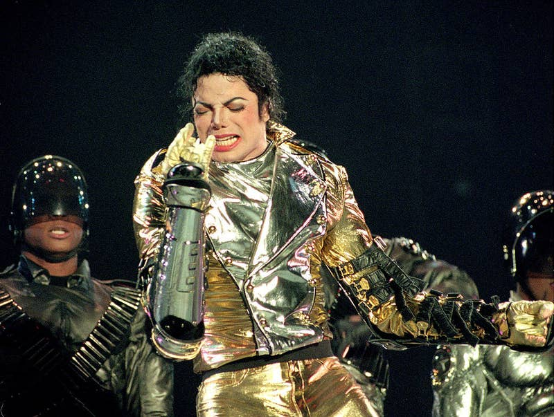 Michael Jackson performs in Auckland, New Zealand, in 1996.