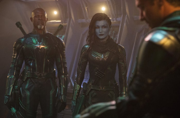 Djimon Hounsou, Gemma Chan, and Jude Law in Captain Marvel.