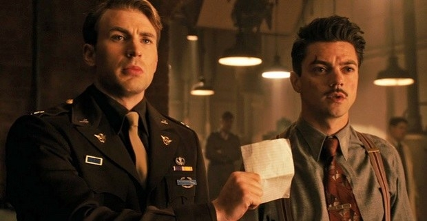 Captain America can be seen wearing a yellow American Defense Ribbon, which was awarded to those who served in WWII between September 8, 1939 and December 7, 1941, before the United States formally entered the war. Steve Rogers joined the war well after the United States was formally involved and would therefore not qualify for this honor.