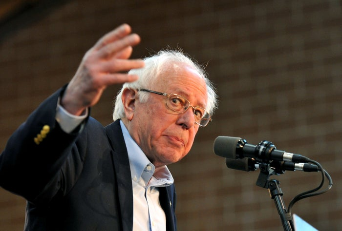 Sen. Bernie Sanders speaks at a rally at the Iowa State Fairgrounds on March 9.