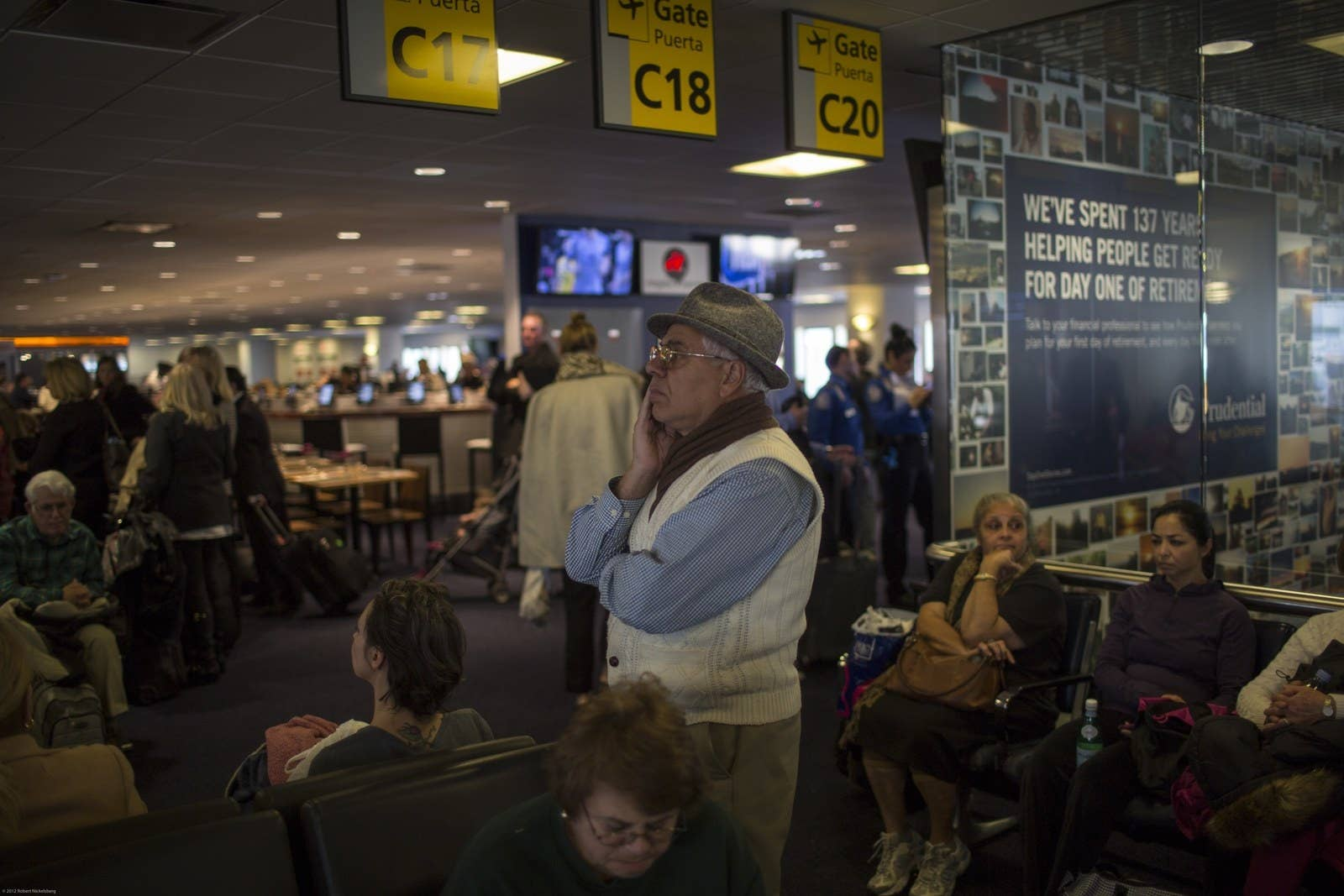 Passengers wait to board at the LaGuardia Airport in the Queens borough of New York.