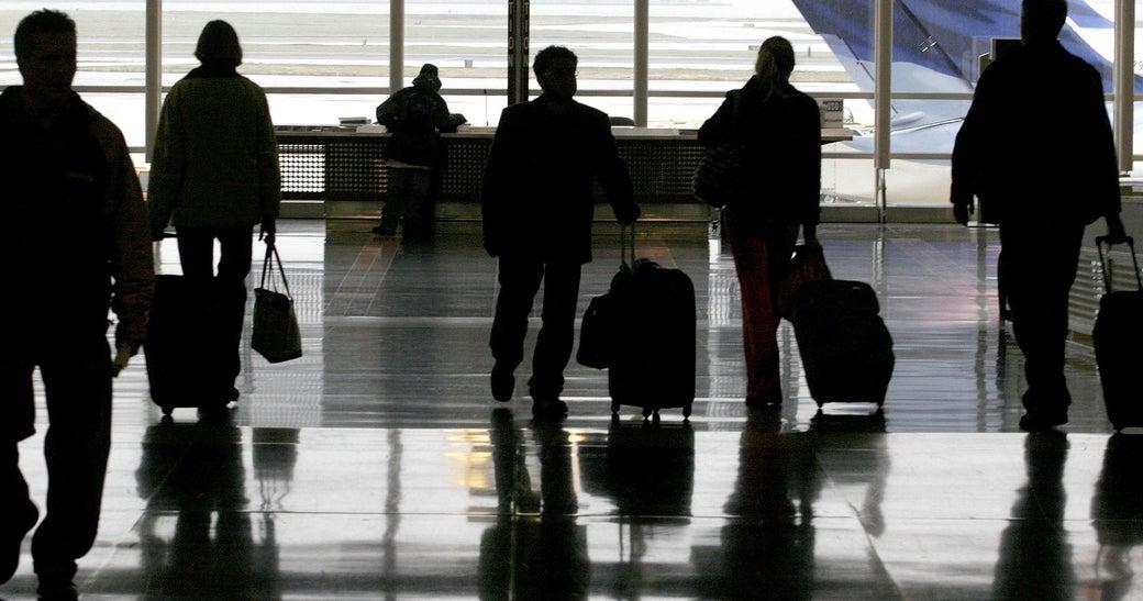 Travelers at Washington National Airport.