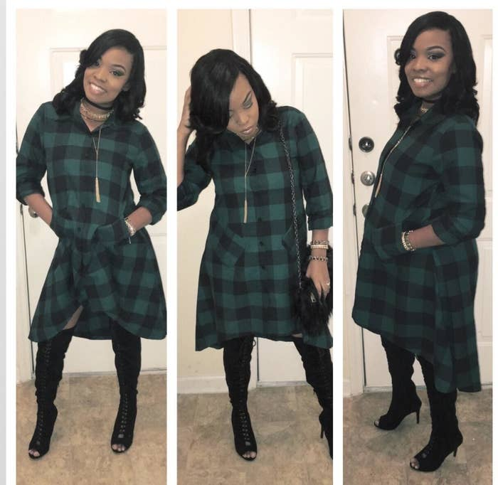 reviewer wears plaid flannel dress with high low skirt