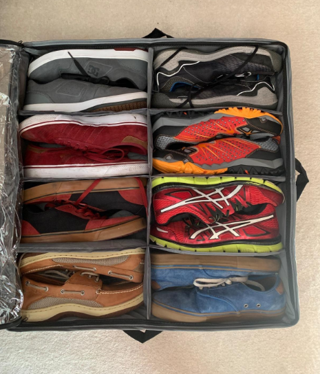 reviewer photo of the shoes in the case