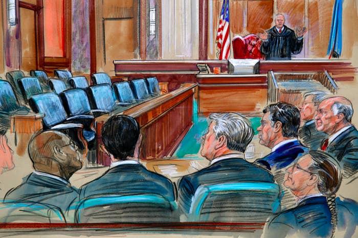 Sketch of Judge T.S. Ellis III addressing lawyers in Paul Manafort's trial in Alexandria, Virginia, in August 2018.