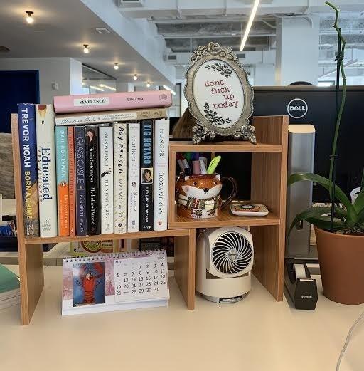 Reviewer desk with desktop organizer on top