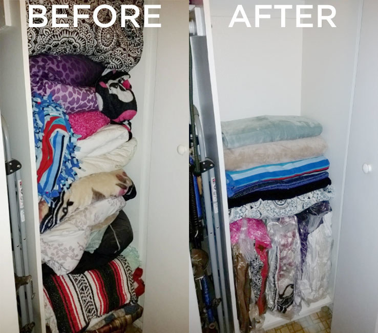 Reviewer closet before and after using vacuum storage bags
