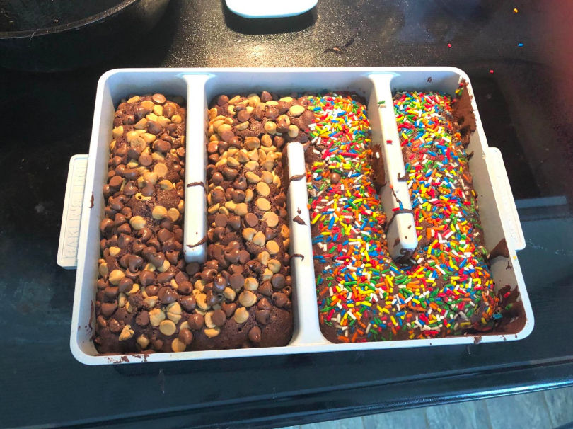 reviewer image of brownies topped with chocolate chips and sprinkles