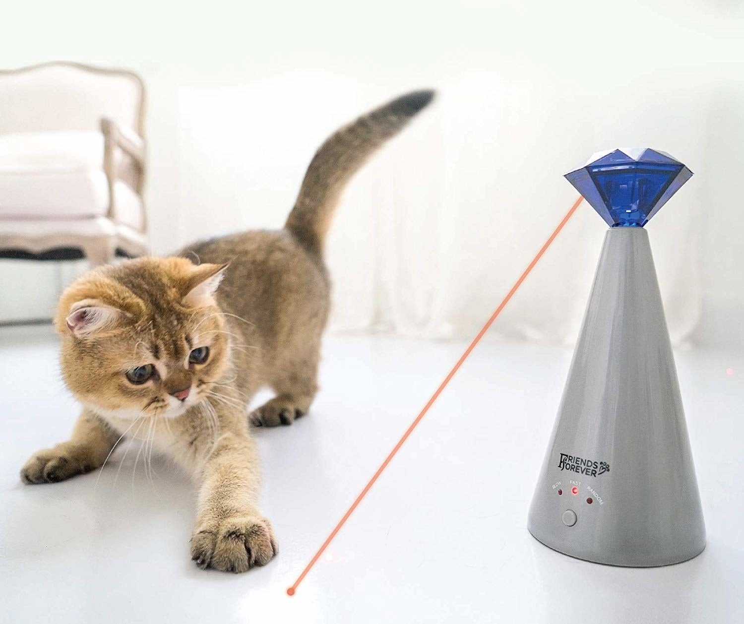 "Promising review: ""I recommend this laser toy for any family who has a cat in their house. Compared to a laser pen, it's much easier to use and frees your hands to do other house work. My cat is having a lot of fun of chasing the laser point — I can watch him play while I'm laying on my couch. It takes your cat's extra energy away, so they're not scratching your other stuff. The battery seems to be lasting longer than I expected. I have had this for two weeks and use it 30–40 minutes every day and haven't had to change the battery yet. Highly recommend this toy for all my friends with a cat."" —Fiona YanGet it from Amazon for $24.98."