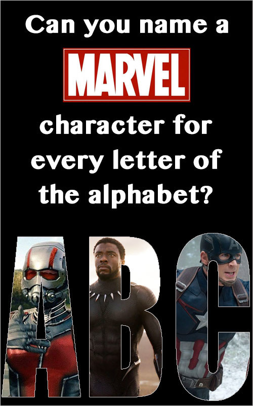 Do you wants some helpful tips? No? Well, I'll tell you anyway! You can use real names or superhero names, so you may be able to use one character for two letters. Punctuation matters! There are nearly 3,500 applicable answers, so you have plenty to choose from. Good luck!