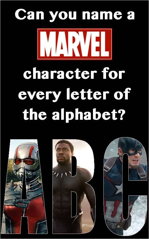 Do you want some helpful tips? No? Well, I'll tell you anyway! You can use real names or superhero names, so you may be able to use one character for two letters. Punctuation matters! There are nearly 3,500 applicable answers, so you have plenty to choose from. Good luck!